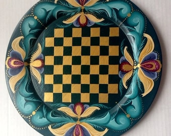 Norwegian Rosemaled Checker and Chessboard
