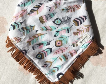 BABY BANDANNA BIB - colours • of • the • wind ~ white, pink, mint & gold with fringe