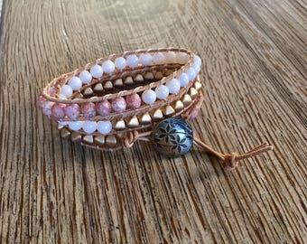 Leather wrap bracelet, wrap bracelet, beaded bracelet, beaded wrap bracelet, beaded leather wrap bracelet