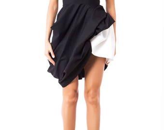 Assymetrical dress/ Black and white dress/ Mini dress/ Extravagant dress/ Party dress/ Designer dress