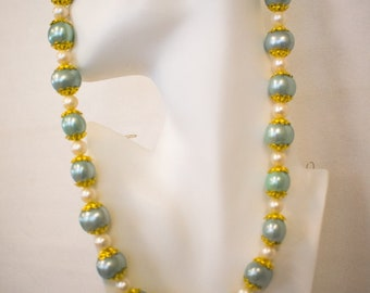 Aqua and White Freshwater Pearl Necklace