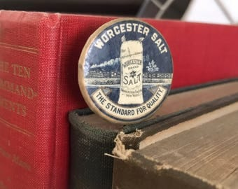 Early WORCESTER SALT Celluloid Pinback Button c. 1900
