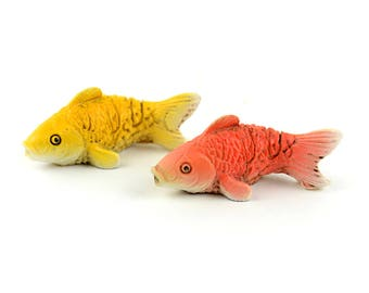"Miniature Yellow and Orange Koi Fish - 2pc - 1.25"" x .75"" x .5"""