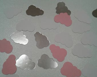 Baby girl shower, Pink baby shower, Confetti, Baby shower, Pink and silver party, Cloud baby shower, Pink and silver decorations, Clouds