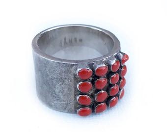 Sterling Red Resin Ring