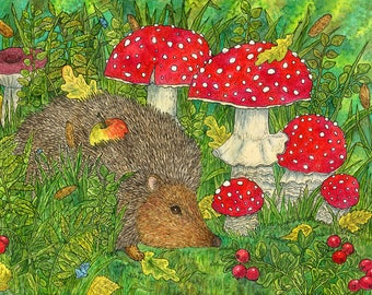 Prints hedgehog, forest, mushroom, autumn, berries, Art, Art Print, Purple, Artwork, Home Decor, Gift, painting, children's room