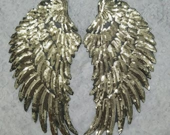 DIY A Pair Gold color nice quality wings sequin patches/wings sequin applique for garment accessories