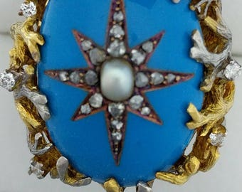 14ct Gold, Blue Enamel, Diamond & Pearl Ring