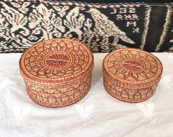 Woven Straw Baskets with Lids   Small Boho Nesting Baskets