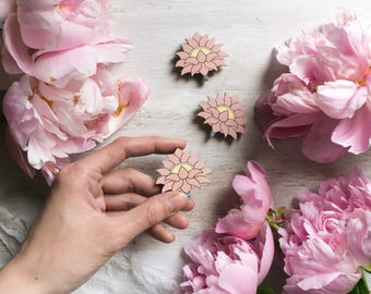 Pink Lotos Flower Wooden Brooch by WoodBrooch