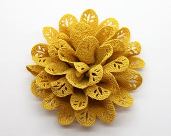 2 Yellow Eyelet Baby Girl Flower Hair Clips Brooches 1 Pair