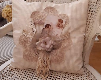 Cushion charm cushion, pillow doily, shabby french vintage, flower, Pocket, romantic cushion pillow cushion