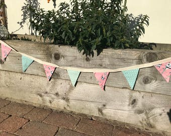 Cotton Double Sided Bunting - Green Dotty Vintage Style - Pink Pandas, free shipping