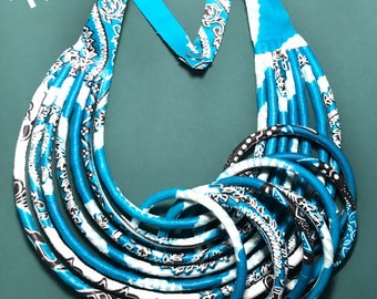 New arrival! set necklace and bracelets in turquoise blue African fabric for women.