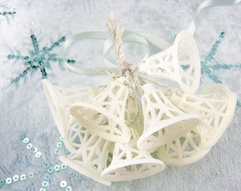 12 White Sugar Bells, Plastic Glitter Bells, New Old Stock, Made in Japan, Valentine Wedding Favor, Bottle Brush Tree or Wreath Decoration