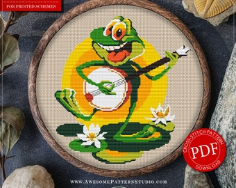 Cool Cross Stitch Pattern of Frog for Instant Download *P028 | Funny Cross Stitch| Easy Cross Stitch| Baby Cross Stitch| Modern Embroidery