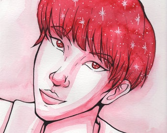 J-Hope and Stars - Original Celebrity Portrait Illustration - J-Hope from BTS Watercolor Painting / Ink Drawing