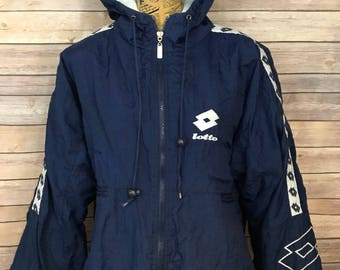 Vintage 80s Lotto Italia Hooded Bomber Insulated Jacket (L)