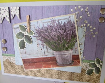 Lavender filled seal (embossed) 3D card