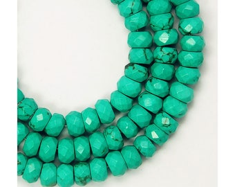 20 Beads Green Turquoise 4x6mm Faceted Rondell Beads CB472