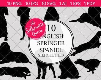 english springer spaniel dog silhouettes clipart clip art ai eps svgs jpgs