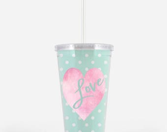 Heart Tumbler, Heart Cup, Personalized Cup, Personalized Tumbler, Birthday Party Cup, Birthday Party Tumbler,Custom Tumbler, Valentine's Cup