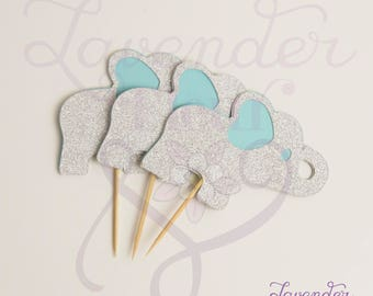 FREE SHIPPING Baby Blue Elephant Cupcake Toppers for Baby Showers, Birthday Party - Double Sided