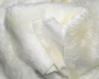 Plain Fun Faux Fur Fabric Material ECRU (OFF WHITE)