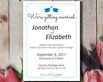 Cute Simple Wedding Invitation Template, Lovebirds Wedding Invitation Printable, Instant Download, Editable PDF, Blue Teal Invitation