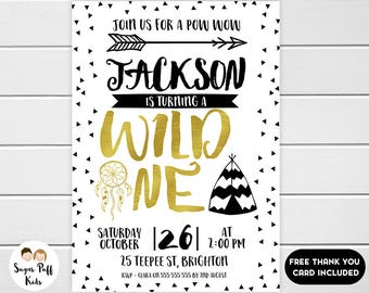 Boys Wild One Birthday Invitation, Tribal 1st Birthday Invitation for boy, Wild One birthday invitation, Wild One Invite
