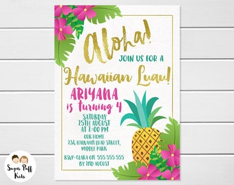 Luau invitations Etsy