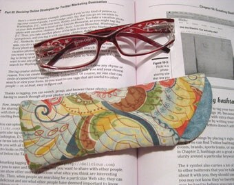 Beautiful Swirled Blues, Browns, Reds and Cream Eyeglasses Case