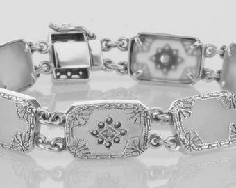 Antique Style Filigree Camphor Glass Starburst Crystal Bracelet Sterling Silver 7 Inches Art Deco Free Shipping