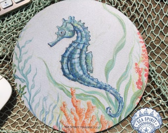 Seahorse mouse pad | beach office decor | seahorse art | Coastal mouse pad | nautical mouse pad | blue seahorse | Kate McRostie | Coastal