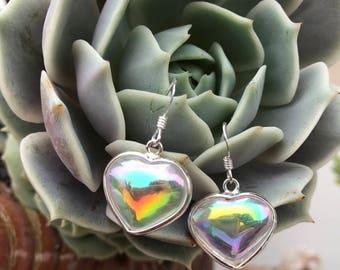 Opal Aura Heart Shaped earrings-sterling silver overlay