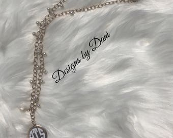 Monogrammed Pearl Necklace