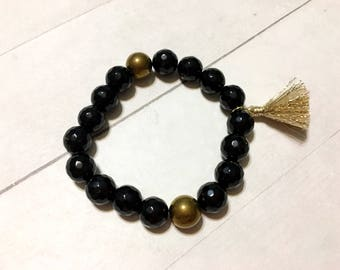 Handmade beaded stretch bracelets // onyx and gold thread fringe // Stretch Bracelet // gifts for her // women's fashion