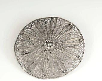 Early 1900's 900 Silver Sand Dollar Filigree Pin
