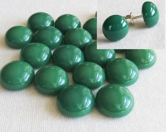 Jade Green Cabochon 9-10mm (18 cabs) Small Cabochon Fused Glass Cabochon Round Cabochons Simple for Post Earrings Jewellery
