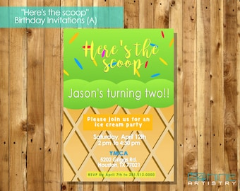 HERE'S THE SCOOP: Ice Cream Birthday Invitation
