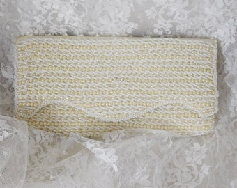 "Vintage Rags by Debbie Beaded Clutch 4 1/2"" x 8 1/2"" x 1"" - Ivory - Beautiful & Clean!"