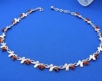Andreas Daub A*D Sterling Silver Dangle Amber Honey Color Beads Necklace Choker