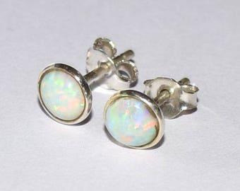 White opal stud earrings, Opal earrings, minimalist, dainty, every day earrings, White Opal Stud, Opal Ear Stud, Girls Stud, Women Stud,