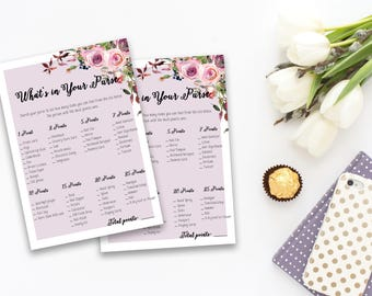 What is in your Purse Bridal Shower Printable Game Pink Flowers Wedding Card Instant Download - BG001