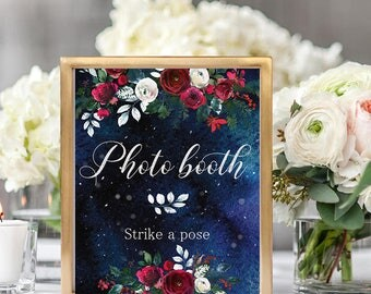 Photo booth Wedding Sign Christmas Winter New Year Snow White Red Burgundy Floral Wedding Printable Decor Gifts Poster Sign 8x10 WS-050