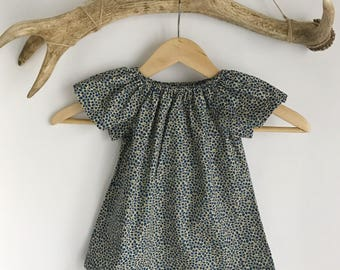 Blue petal baby girls summer dress / baby peasant dress