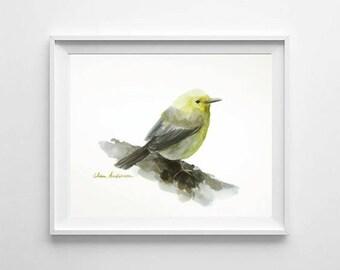 ORIGINAL watercolor painting, 11 x 15 inches, Nursery room, Bird watercolor, Yellow bird painting,Little bird, Bird art, Bird art