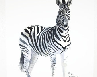 ORIGINAL watercolor painting, 15 x 11 inches, Original zebra, Zebra watercolor, Original animal painting, Gift for her, Gift for woman