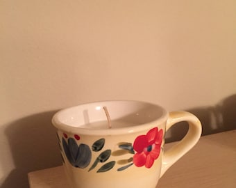 Whimsical Flower Mug Candle