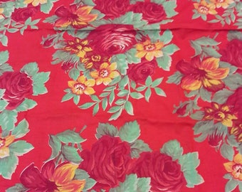 A Vintage Russian Printed Cotton Fabric Cut.